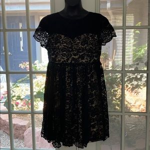 Black Lace Dress with Nude Slip
